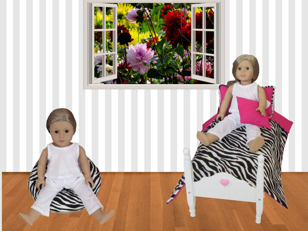 Zebra Print Doll Bean Bag and Doll Bedding
