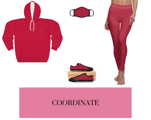 Solid Red Unisex Pullover Hoodie, Solid Red Fitted Polyester Face Mask, Solid Red Sneakers, and Solid Red Leggings