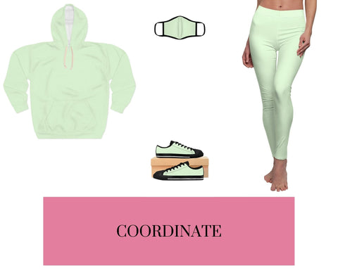 Pale Green Unisex Pullover Hoodie, Pale Green Fitted Polyester Face Mask, Pale Green Sneakers, and Pale Green Leggings