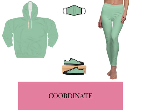 Solid Mint Unisex Pullover Hoodie, Solid Mint Fitted Polyester Face Mask, Solid Mint Sneakers, and Solid Mint Leggings