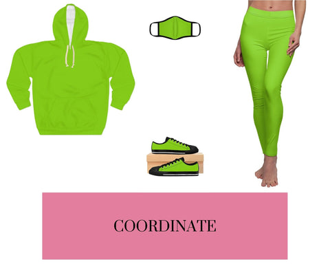 Lime Shock Unisex Pullover Hoodie, Solid Lime Shock Fitted Polyester Face Mask, Lime Shock Sneakers, and Lime Shock Leggings