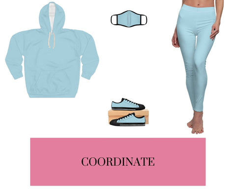 Light Blue Unisex Pullover Hoodie, Light Blue Fitted Polyester Face Mask, Light Blue Sneakers, and Light Blue Leggings