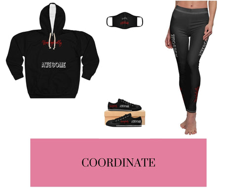 Unapologetically Awesome Black Unisex Pullover Hoodie, Unapologetically Awesome Black Fitted Polyester Face Mask, Unapologetically Awesome Black Sneakers, and Unapologetically Awesome Black Stripe Leggings
