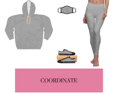 Solid Heather Grey Unisex Pullover Hoodie, Solid Heather Grey Fitted Polyester Face Mask, Solid Heather Grey Sneakers, and Solid Heather Grey Leggings