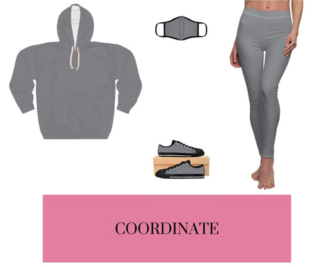 Black/Grey Unisex Pullover Hoodie, Black/Grey Fitted Polyester Face Mask, Black/Grey Sneakers, and Black/Grey Leggings