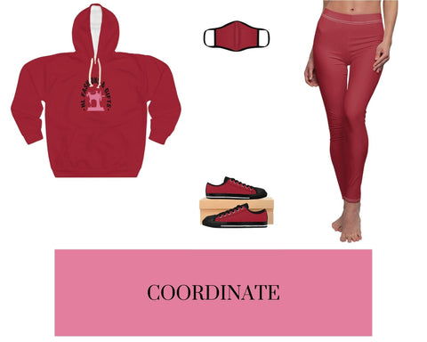 HLF Red-1 Unisex Pullover Hoodie, Red-1 Fitted Polyester Face Mask, Red-1 Sneakers, and Red-1 Leggings