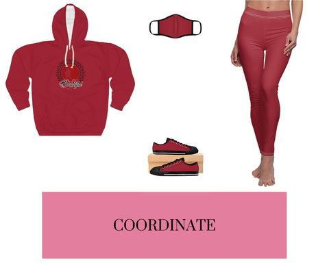 Beautiful Red-1 Unisex Pullover Hoodie, Red-1 Fitted Polyester Face Mask, Red-1 Sneakers, and Red-1 Leggings