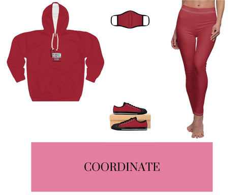 Freedom to Vent Red-1 Unisex Pullover Hoodie, Red-1 Face Mask, Red-1 Sneakers, and Red-1 Leggings