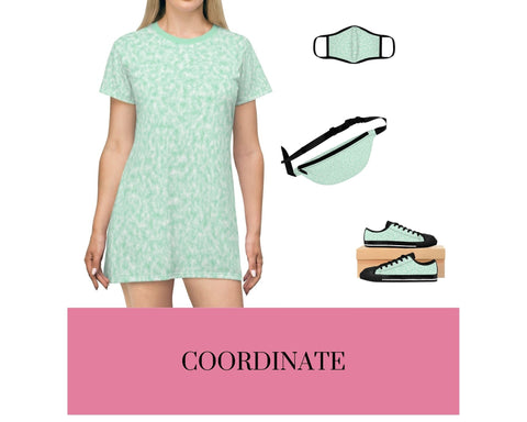 Seafoam Green and White Clouds T-Shirt Dress, Seafoam Green and White Clouds Fitted Polyester Face Mask, Seafoam Green and White Clouds Fanny Pack, and Seafoam Green and White Clouds Sneakers