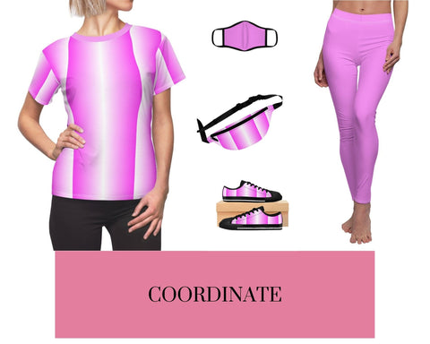 Pink and White Vertical Women's Tee, PW-Pink Fitted Polyester Face Mask, Pink and White Vertical Fanny Pack, and Pink and White Vertical Sneakers