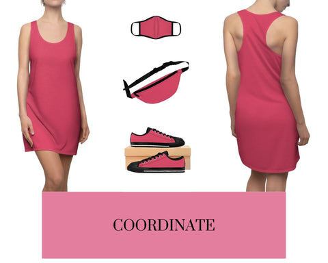 Hot Coral Racerback Dress, Solid Hot Coral Fitted Polyester Face Mask, Hot Coral Fanny Pack, and Hot Coral Sneakers