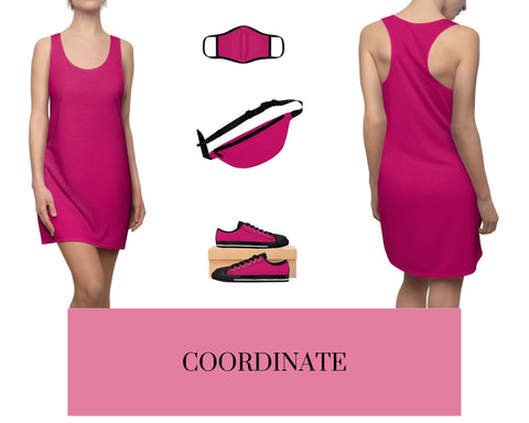 Pink Raspberry Racerback Dress, Solid Pink Raspberry Fitted Polyester Face Mask, Pink Raspberry Fanny Pack, and Pink Raspberry Sneakers