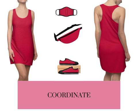 Solid True Red Racerback Dress, Solid True Red Fitted Polyester Face Mask, True Red Fanny Pack, and True Red Sneakers