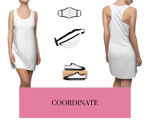 White Racerback Dress, White Fitted Polyester Face Mask, White Fanny Pack, and White Sneakers