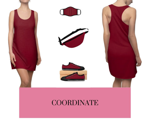 Burgundy Racerback Dress, Burgundy Fitted Polyester Face Mask, Burgundy Fanny Pack, and Burgundy Sneakers