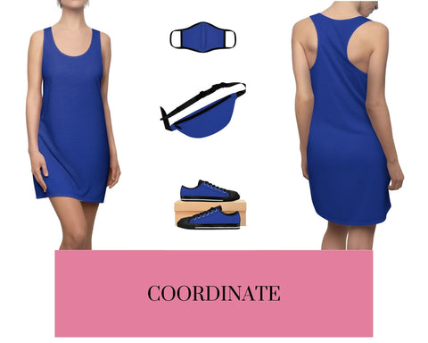 True Royal Racerback Dress, Solid True Royal Fitted Polyester Face Mask, True Royal Fanny Pack, and True Royal Sneakers
