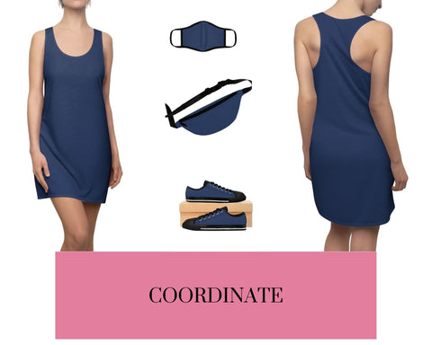 True Navy Racerback Dress, Solid True Navy Fitted Polyester Face Mask, True Navy Fanny Pack, and True Navy Sneakers.