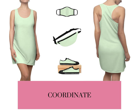 Pale Green Racerback Dress, Pale Green Fitted Polyester Face Mask, Pale Green Fanny Pack, and Pale Green Sneakers