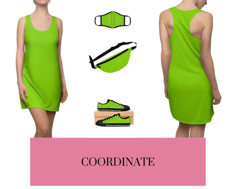 Lime Shock Racerback Dress, Solid Lime Shock Fitted Polyester Face Mask, Lime Shock Fanny Pack, and Lime Shock Sneakers