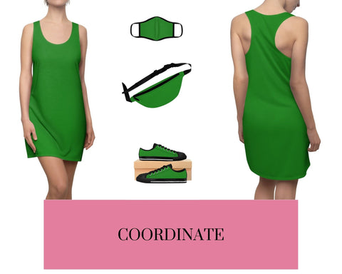 Forest Green Racerback Dress, Forest Green Fitted Polyester Face Mask, Forest Green Fanny Pack, and Forest Green Sneakers