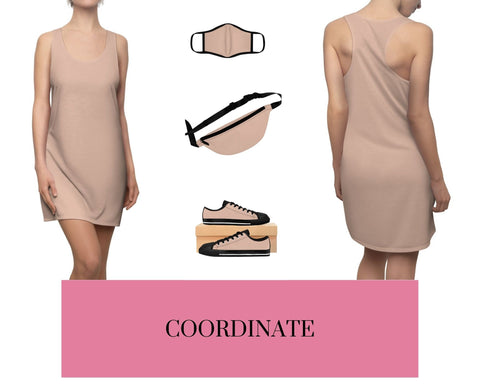 Pale Pink Racerback Dress, Pale Pink Fitted Polyester Face Mask, Pale Pink Fanny Pack, and Pale Pink Sneakers