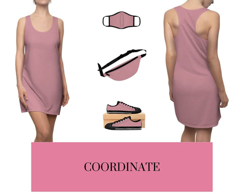 Solid Light Pink Racerback Dress, Solid Light Pink Fitted Polyester Face Mask, Solid Light Pink Fanny Pack, and Solid Light Pink Sneakers