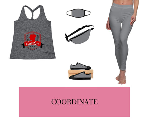 Creative Black/Grey Cosmic Twist Back Tank Top, Black/Grey Mixed-Fabric Face Mask, Black/ Grey Fanny Pack, Black/Grey Sneakers, and Black/Grey Leggings