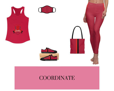 Creative Solid Red Racerback Tank, Solid Red Fitted Polyester Face Mask, Red VBR Stripes Sneakers, Red VBR Stripes Tote Bag, and Red VBR Stripes Leggings