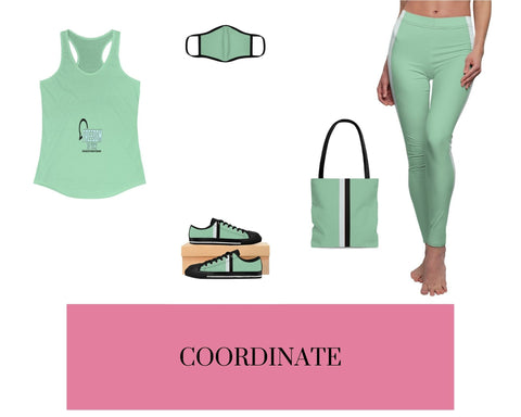 Freedom to Vent Solid Mint Racerback Tank, Solid Mint Fitted Polyester Face Mask, Mint VBB Stripes Sneakers, Mint VBB Stripes Tote Bag, and Mint VBB Stripes Leggings