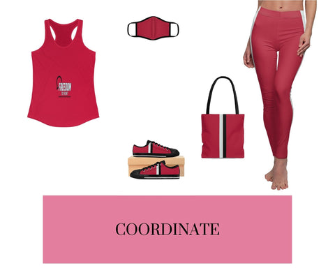 Freedom to Vent Solid Red Racerback Tank, Solid Red Fitted Polyester Face Mask, Red VBB Stripes Sneakers, Red VBB Stripes Tote Bag, and Red VBB Stripes Leggings