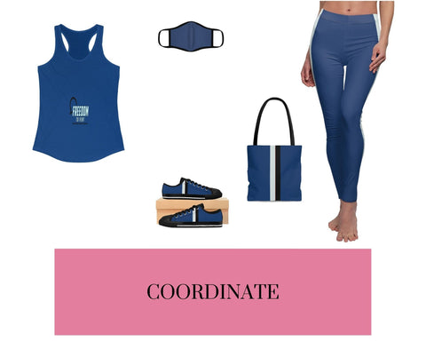 Freedom to Vent Solid Royal Racerback Tank, Solid Royal Fitted Polyester Face Mask, Solid Royal VBB Stripes Sneakers, Solid Royal VBB Stripes Tote Bag, and Solid Royal VBB Stripes Leggings