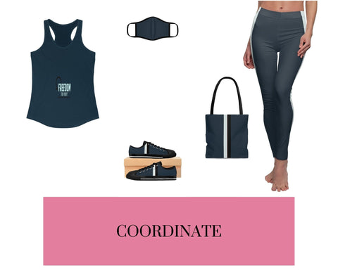 Freedom to Vent Midnight Navy Racerback Tank, Solid Midnight Navy Fitted Polyester Face Mask, Solid Midnight Navy VBB Stripes Sneakers, Solid Midnight Navy VBB Stripes Tote Bag, and Solid Midnight Navy VBB Stripes Leggings