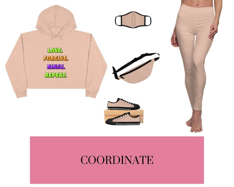 Love. Forgive. Rinse. Repeat. Pale Pink Crop Hoodie, Pale Pink Fitted Polyester Face Mask, Pale Pink Fanny Pack, Pale Pink Sneakers, and Pale Pink Leggings
