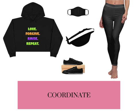 Love. Forgive. Rinse. Repeat. Black Crop Hoodie, Black Fitted Polyester Face Mask, Black Fanny Pack, Black Sneakers, and Black Leggings