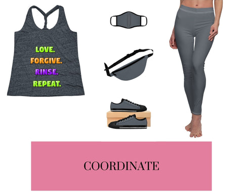 Love. Forgive. Rinse. Repeat. Navy/Royal Cosmic Twist Back Tank Top, Navy/Royal Fitted Polyester Face Mask, Navy/Royal Fanny Pack, Navy/Royal Sneakers, and Navy/Royal Leggings