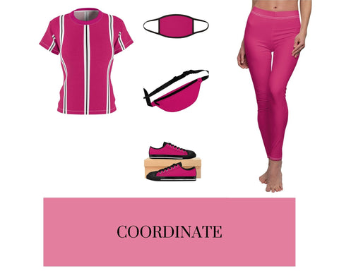Pink Raspberry BW Stripes Women's Tee, Pink Raspberry Mixed-Fabric Face Mask, Pink Raspberry Casual Leggings, Pink Raspberry Fanny Pack, and Pink Raspberry Sneakers