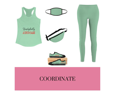 Unapologetically Awesome Solid Mint Racerback Tank, Solid Mint Mixed-Fabric Face Mask, Solid Mint Fanny Pack, Solid Mint Casual Leggings, and Unapologetically Awesome Solid Mint Women's Sneakers