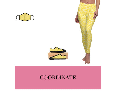 Gold and White Clouds Face Mask, Gold and White Clouds Sneakers, and Gold and White Clouds Leggings
