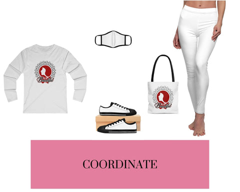 Beautiful White Fitted Long Sleeve Tee, White Face Mask, White Sneakers, Beautiful White Tote Bag, and White Leggings