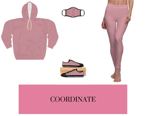 Solid Light Pink Unisex Pullover Hoodie, Solid Light Pink Fitted Face Mask, Solid Light Pink Sneakers, and Solid Light Pink Leggings