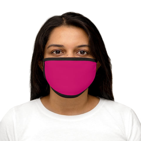 Solid Pink Raspberry Mixed-Fabric Face Mask