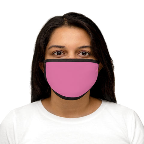 Solid Hot Pink Mixed-Fabric Face Mask