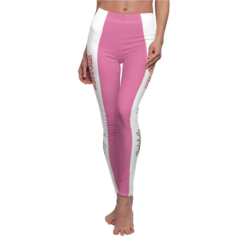 Unapologetically Awesome Solid Hot Pink White Stripe Casual Leggings