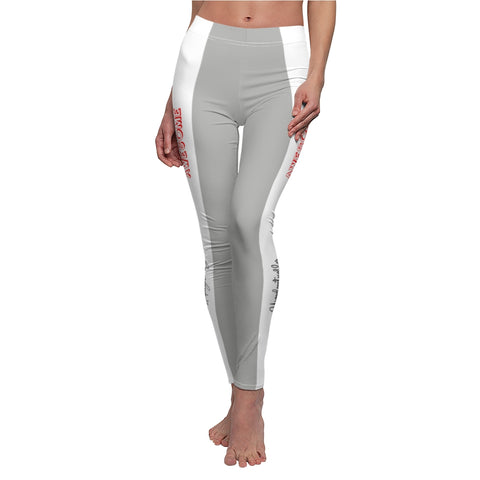 Unapologetically Awesome Sport Grey White Stripe Casual Leggings