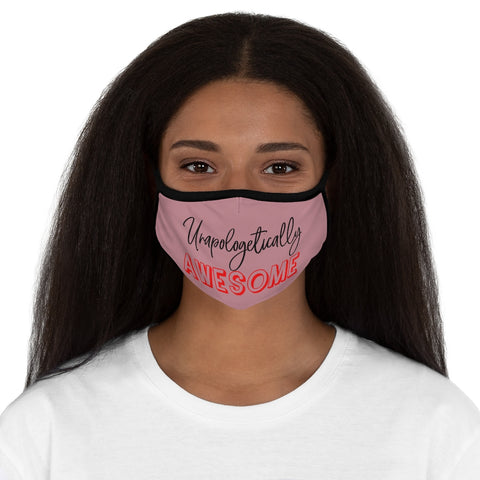 Unapologetically Awesome Solid Light Pink Fitted Polyester Face Mask