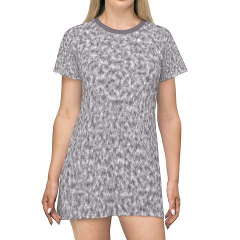 Gray and White Clouds T-shirt Dress