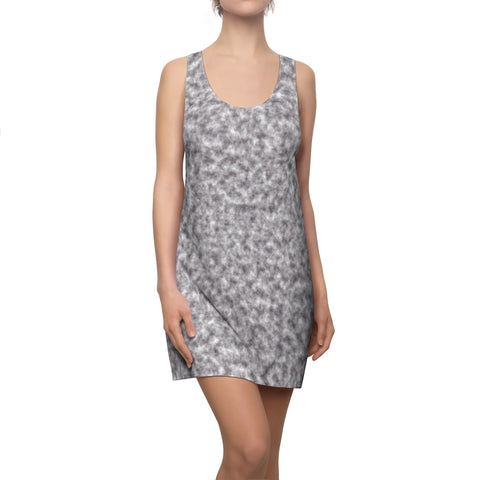 Gray and White Clouds Racerback Dress