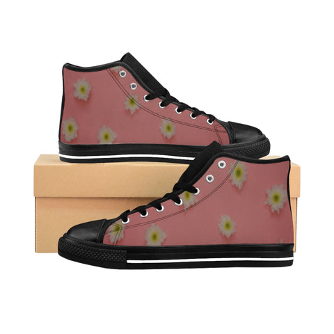 White Flowers on Pink Women's High-top Sneakers