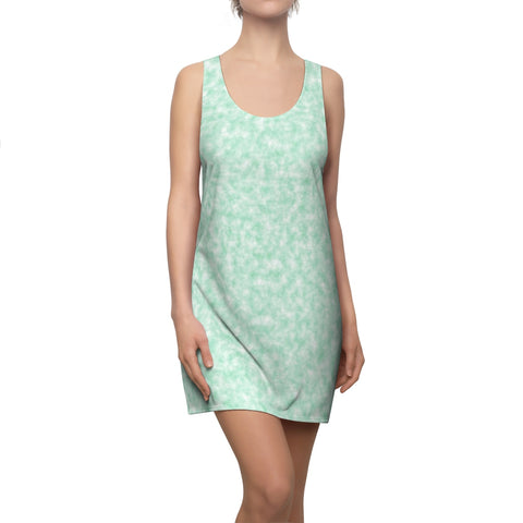 Seafoam Green and White Clouds Racerback Dress