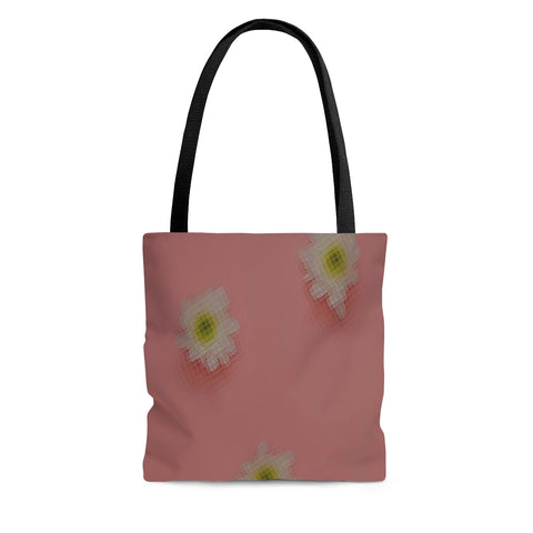 White Flowers on Pink Tote Bag